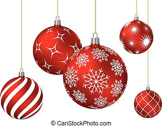 Red christmas balls with different patterns