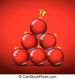 red christmas balls with golden star