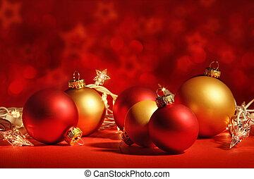 Red christmas balls with lights