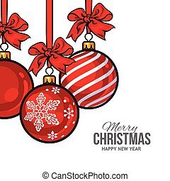 Red Christmas balls with ribbon and bows, greeting card template