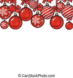 Red Christmas balls with ribbon and bows