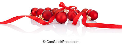 Red Christmas balls with ribbon bow Isolated on white background