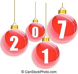 Red christmas balls with the numbers of new year 2017