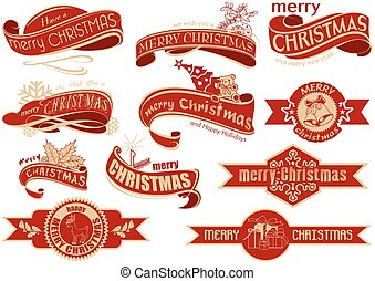 Red Christmas Banner Set