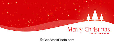red christmas banner with trees