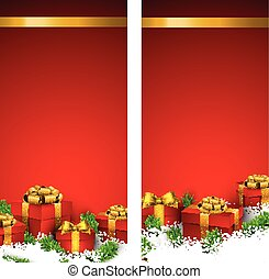 Red christmas banners with gift boxes.
