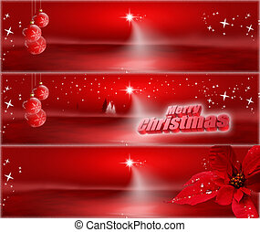 Red Christmas banners with stars, poinsettia and decorations