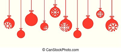 red christmas bauble decoration with snowflakes