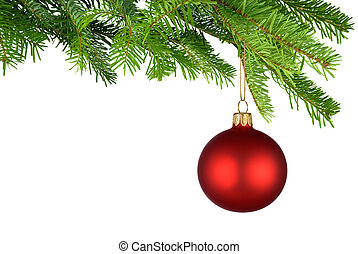 Red Christmas bauble hanging from fresh green twigs - Bright...