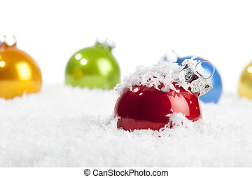 Red Christmas bauble in decorative snow