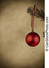 Red Christmas Bauble - Vintage Style - A red bauble hanging...
