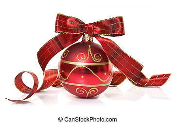 red christmas bauble with a bow
