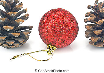 Red christmas bauble with pine cones