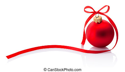 Red Christmas bauble with ribbon bow isolated on white background