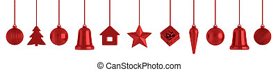 Red christmas baubles decorations isolated over white 3d rendering