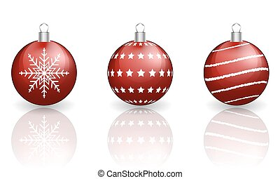 Red christmas baubles on white background.
