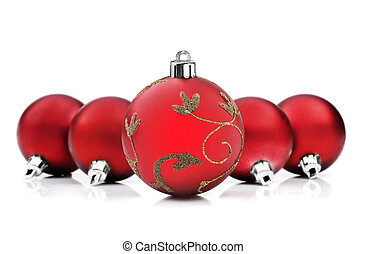 christmas baubles on white background with space for text
