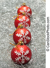 Red Christmas baubles with a silver