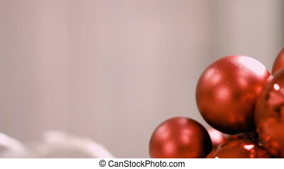 red christmas baubles with copy space background. christmas ...