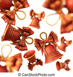 Red Christmas Bells with a bow.