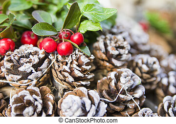 red Christmas berries and cones on the snow