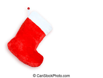 Red christmas boot  on white background isolated