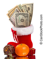 Red Christmas boot with dollars and gifts