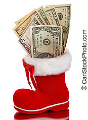 Red Christmas boot with dollars