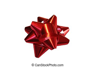 Red Christmas Bow - Red foil Christmas bow isolated.