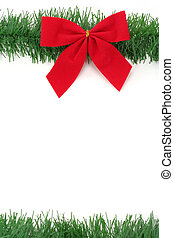 Red Christmas Bow and pine with white  background