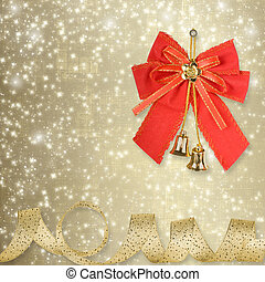 Red Christmas bow with golden bells on an abstract ...