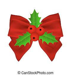 Red Christmas bow with holly on white background on ribbon.
