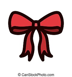 Red Christmas bow with outline thickness