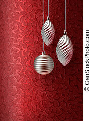 Red Christmas brocade silver decoration