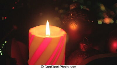 red christmas candle closeup