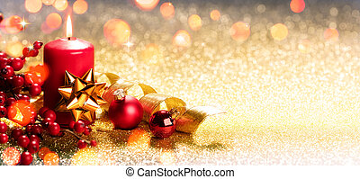 Red Christmas Candle On Ornament