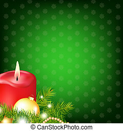 Red Christmas Candle With Fur Tree, Vector Illustration