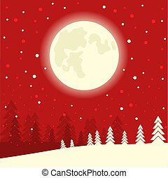 Red Christmas card background on winter moon night. Vector illustration
