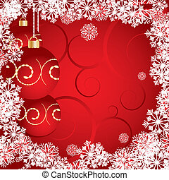 Red Christmas card decorated with snowflakes, baubles and curls, vector illustration