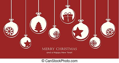 red christmas card with bauble decoration snowflakes stars and gift