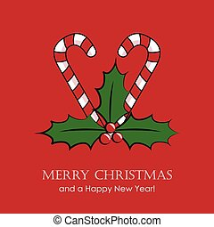 red christmas card with candy cane and holly berry