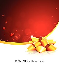Red christmas card with gold ribbon