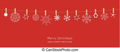 red christmas card with hanging snowflakes