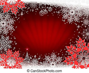 Red Christmas card with rays of light, shiny Christmas tree and red large snowflakes.