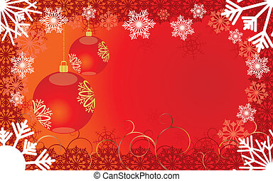 Red Christmas card with snowflakes and baubles, vector illustration