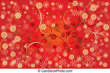 Red Christmas card with snowflakes and curls, vector illustration