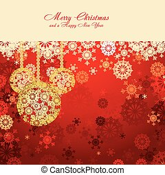 Red Christmas card with snowflakes and gold baubles, vector illustration