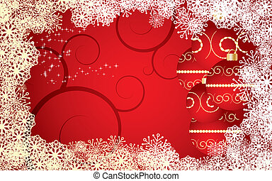 Red Christmas card with snowflakes, baubles and curls, vector illustration