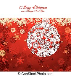Red Christmas card with snowflakes, vector illustration