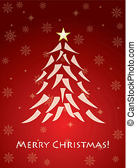 Red christmas card with tree